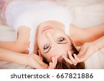 beautiful girl in pajamas with... | Shutterstock . vector #667821886