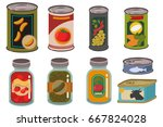 canned food in metal tin and... | Shutterstock .eps vector #667824028