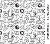 old school seamless pattern... | Shutterstock .eps vector #667826050