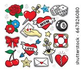 old school fashion patch badges ... | Shutterstock .eps vector #667826080