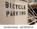 bicycle parking sign painted | Shutterstock . vector #667826314
