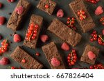 brownies with raspberries and... | Shutterstock . vector #667826404