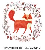 watercolor artwork with cute... | Shutterstock . vector #667828249