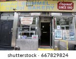 Small photo of NEW YORK - JUNE 27, 2017: The original Yonah Shimmel's knish bakery in Lower East Side in Manhattan since 1910