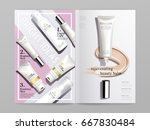 white and pink cosmetic themed... | Shutterstock .eps vector #667830484