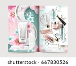 cosmetic brochure design with... | Shutterstock .eps vector #667830526