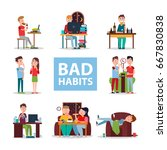 bad habits poster vector... | Shutterstock .eps vector #667830838