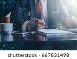 businessman working with
