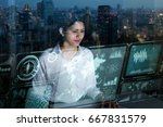 businesswoman looking at... | Shutterstock . vector #667831579