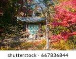 korean pavilion in fall season... | Shutterstock . vector #667836844