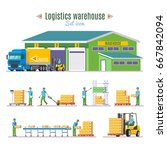logistic warehouse elements... | Shutterstock .eps vector #667842094