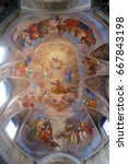 Small photo of ROME, ITALY - SEPTEMBER 02: Apotheosis of St James by Silverio Capparoni fresco on the ceiling of the Church San Giacomo in Augusta in Rome, Italy on September 02, 2016.