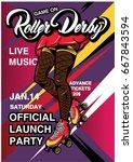 cartoon rollerscate derby... | Shutterstock .eps vector #667843594