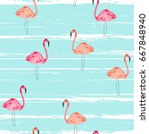 flamingo seamless pattern with... | Shutterstock .eps vector #667848940