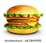 big tasty hamburger isolated on ... | Shutterstock . vector #667849900