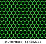 seamless hexagon green and... | Shutterstock .eps vector #667852186