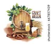 watercolor barrel of beer... | Shutterstock . vector #667857439