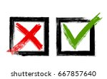 symbolic red x and green ok... | Shutterstock .eps vector #667857640