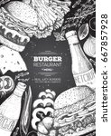 burgers and ingredients for... | Shutterstock .eps vector #667857928