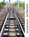 junction of railway track with... | Shutterstock . vector #667860364