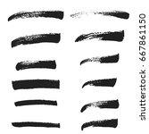 brush set brush strokes  grunge ...   Shutterstock .eps vector #667861150