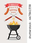 bbq or barbecue party... | Shutterstock .eps vector #667861558