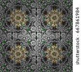vintage pattern on green...   Shutterstock .eps vector #667861984