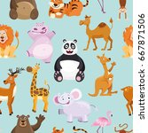 seamless pattern with vector... | Shutterstock .eps vector #667871506