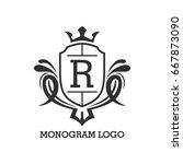 monogram logo template with...   Shutterstock .eps vector #667873090