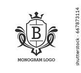 monogram logo template with...   Shutterstock .eps vector #667873114