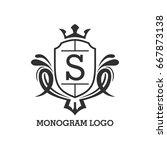 monogram logo template with...   Shutterstock .eps vector #667873138