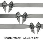 beautiful gray bow on... | Shutterstock . vector #667876129