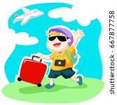 happy traveler wave hand with... | Shutterstock .eps vector #667877758