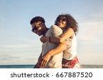 happy afro american couple...   Shutterstock . vector #667887520