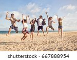 portrait of excited young... | Shutterstock . vector #667888954