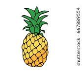 pineapple on white background... | Shutterstock .eps vector #667889554
