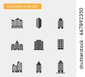 business building icon set | Shutterstock .eps vector #667892350