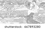 coloring pages. african woman... | Shutterstock .eps vector #667893280