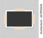 photo frame with sticky tape on ... | Shutterstock .eps vector #667893646