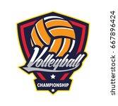 volleyball logo badge  american ... | Shutterstock .eps vector #667896424