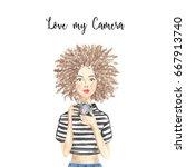 illustration photographer girl... | Shutterstock . vector #667913740