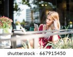 happy blonde beautiful woman...   Shutterstock . vector #667915450