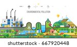ecology concept. polluting... | Shutterstock .eps vector #667920448