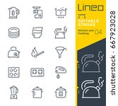 lineo editable stroke   kitchen ... | Shutterstock .eps vector #667923028