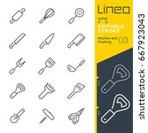 lineo editable stroke   kitchen ... | Shutterstock .eps vector #667923043