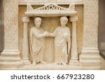 a funerary slab in the baths of ...   Shutterstock . vector #667923280