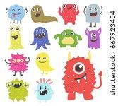 funny cartoon monster cute... | Shutterstock .eps vector #667923454