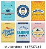 barber shop posters set. retro. ...   Shutterstock .eps vector #667927168