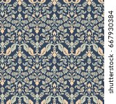damask floral seamless...   Shutterstock .eps vector #667930384