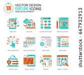 flat line web development icons ... | Shutterstock .eps vector #667932913
